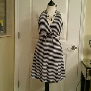 VENUS NWOT Navy/White Stripe Halter Dress